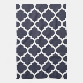 Quatrefoil Navy Blue Kitchen Towels
