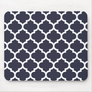 Quatrefoil Navy Blue Mouse Mat