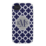 Quatrefoil Navy Blue White Pattern Gray Monogram Vibe iPhone 4 Cover