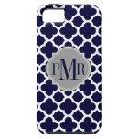 Quatrefoil Navy Blue White Pattern Gray Monogram iPhone 5 Case
