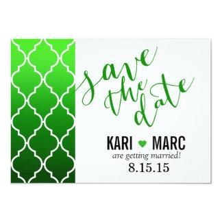 Quatrefoil Ombre Geometric Save the Date | emerald 11 Cm X 16 Cm Invitation Card