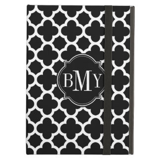 Quatrefoil Pattern Black and White Monogram iPad Air Case