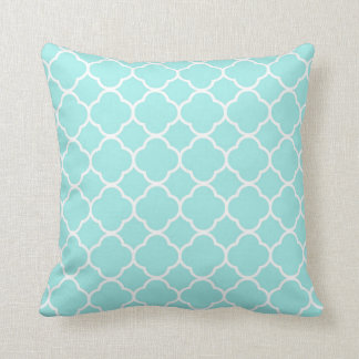Quatrefoil Pattern Blue White aqua design Cushion