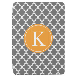 Quatrefoil Pattern Custom Monogram Grey Orange iPad Air Cover