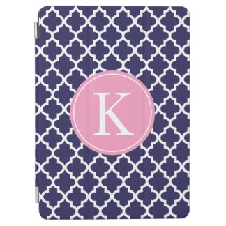 Quatrefoil Pattern Custom Monogram Navy Blue Pink iPad Air Cover