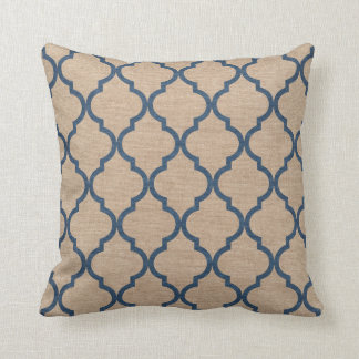 Quatrefoil Pattern Denim Blue and Tan Cushion