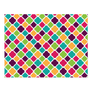 Quatrefoil Pattern Green Pink Purple Orange Teal Postcard