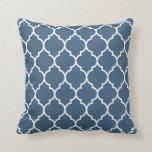 Quatrefoil Pattern in Dark Denim Blue Cushion