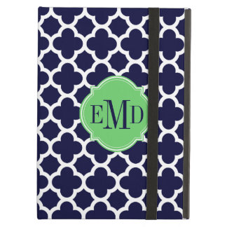 Quatrefoil Pattern Navy Blue and White Monogram iPad Air Cases