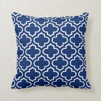 Quatrefoil Pattern Pillow in Royal Blue
