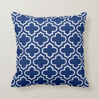Quatrefoil Pattern Pillow in Royal Blue Throw Cushions
