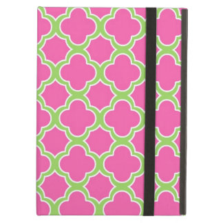 Quatrefoil Pattern Pink & Lime Green iPad Air Cover