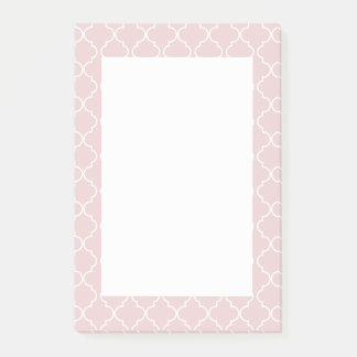 Quatrefoil Pattern Pink Salmon Post it Notes