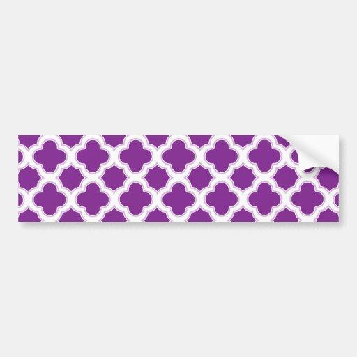 Quatrefoil Pattern Purple and White Bumper Stickers