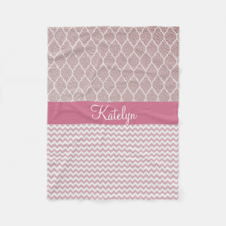 Quatrefoil Pattern Rose Gold | Chevron Monogram Fleece Blanket