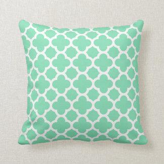 Quatrefoil Pattern Seafoam Green White Throw Cushions