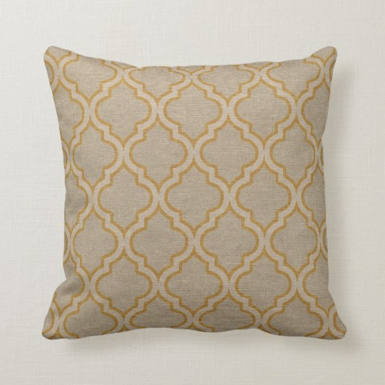 Quatrefoil Pattern Taupe and Gold Throw Pillow