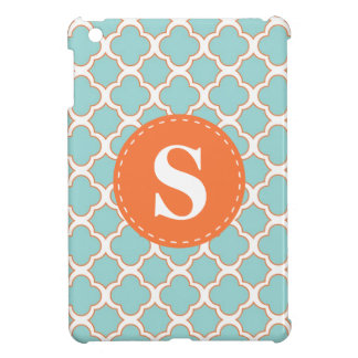 Quatrefoil Pattern Turquoise Orange with Monogram Cover For The iPad Mini