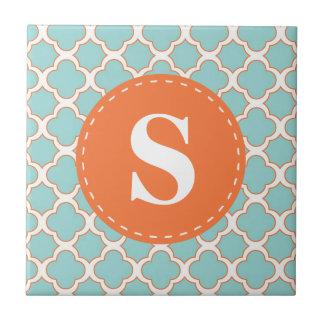 Quatrefoil Pattern Turquoise Orange with Monogram Small Square Tile