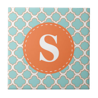 Quatrefoil Pattern Turquoise Orange with Monogram Tile