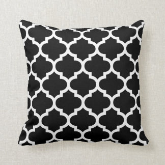 Quatrefoil Pillow - Black and White Pattern