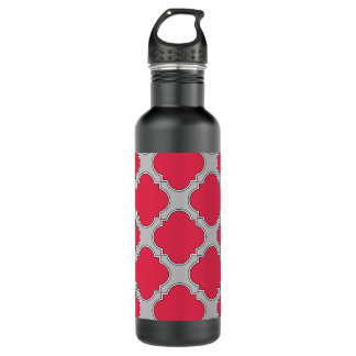 Quatrefoil red and gray 710 ml water bottle