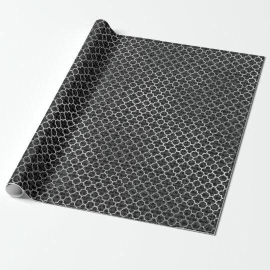 Quatrefoil Silver Gray Black Graphite Linen Shiny Wrapping