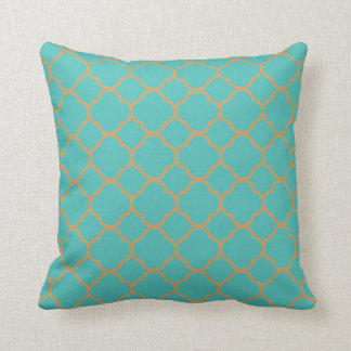 Quatrefoil Teal and Gold pattern Cushion