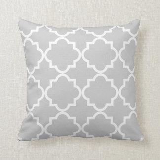 Quatrefoil throw pillow - gray