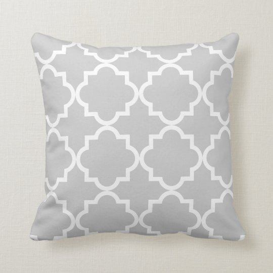 Quatrefoil throw pillow - grey Zazzle.co.uk
