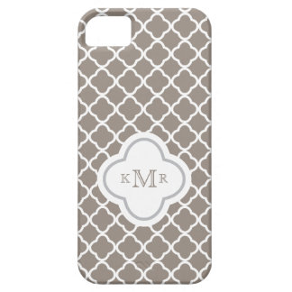 Quatrefoil Toffee Brown Pattern Stylish Monogram Barely There iPhone 5 Case