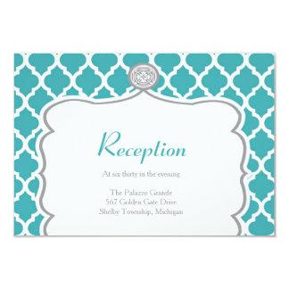 Quatrefoil Turquoise Wedding Reception Card 9 Cm X 13 Cm Invitation Card