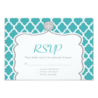 Quatrefoil Turquoise Wedding RSVP Card 9 Cm X 13 Cm Invitation Card