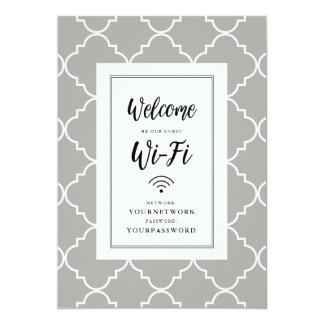Quatrefoil Wifi Sign Card