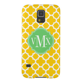 Quatrefoil Yellow and White Pattern Monogram Galaxy S5 Cover