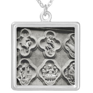 Quatrefoils with the Signs of the Zodiac Silver Plated Necklace