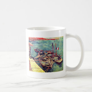 Quay With Men Unloading Sand Barges Moored Boat W Mugs