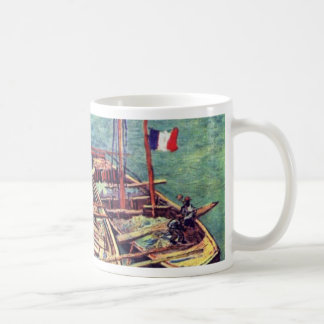 Quay With Men Unloading Sand Barges Moored Boat W Mug