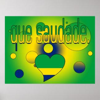 Que Saudade Brazil Flag Colors Pop Art Poster