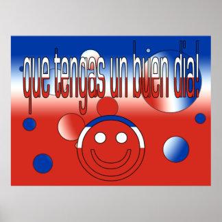 Que Tengas un Buen Día! Chile Flag Colors Pop Art Poster