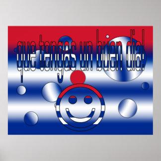 Que Tengas un Buen Día Cuba Flag Colors Pop Art Poster