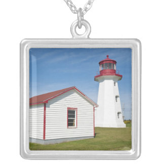 Quebec, Canada. Cap D'Espoir Lighthouse. Silver Plated Necklace