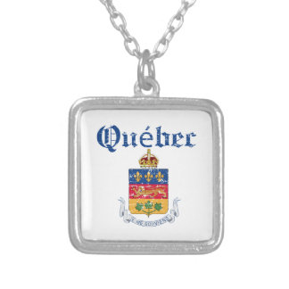 Quebec Canada coat of arms design Silver Plated Necklace