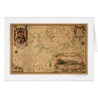 Quebec Canada Early Map 1688 Card