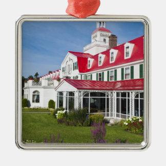 Quebec, Canada. Historic Hotel Tadoussac, 2 Silver-Colored Square Decoration