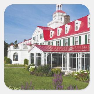 Quebec, Canada. Historic Hotel Tadoussac, 2 Square Sticker