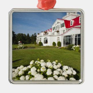 Quebec, Canada. Historic Hotel Tadoussac, 3 Silver-Colored Square Decoration