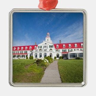 Quebec, Canada. Historic Hotel Tadoussac, Silver-Colored Square Decoration