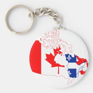 Quebec Canada Map Flag Keychain