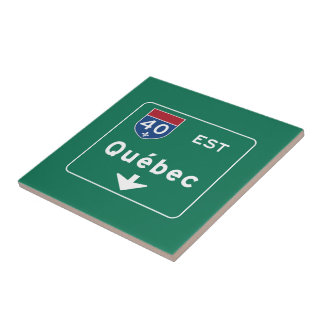 Quebec, Canada Road Sign Small Square Tile